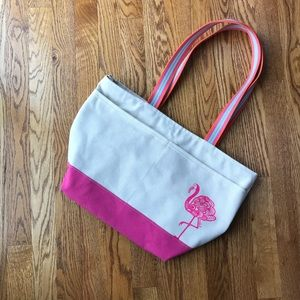 Canvas Tote Bag with Flamingo Graphic
